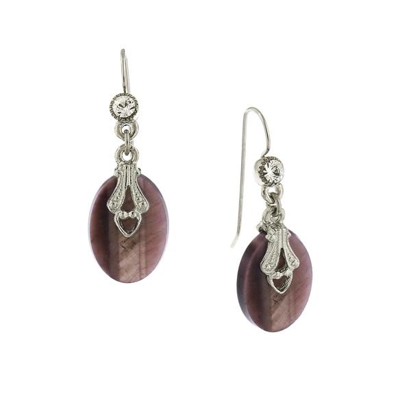 Silver-Tone Semi-Precious Amethyst Oval Drop Earrings