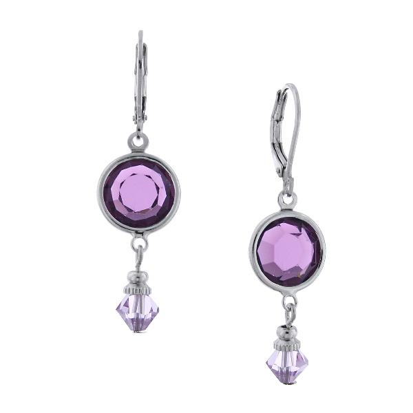 Purple Amethyst Swarovski Drop Earrings