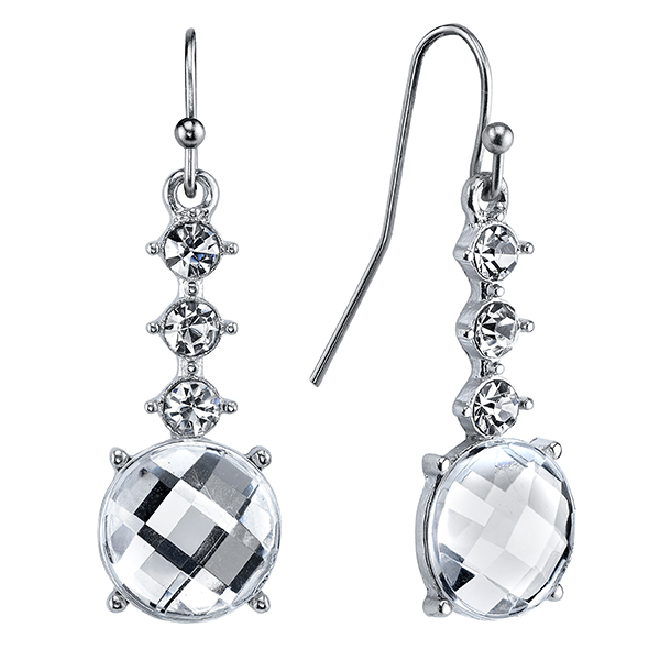 Crystal Glace Silver-Tone Crystal Faceted Round Drop Earrings