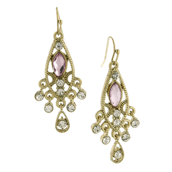 Gold-Tone Crystal and Light Pink Faceted Chandelier Earrings