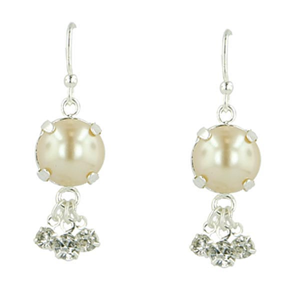 Silver-Tone Simulated Pearl Crystal Drop Earrings