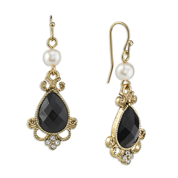 Gold-Tone Black and Simulated Pearl Drop Earrings
