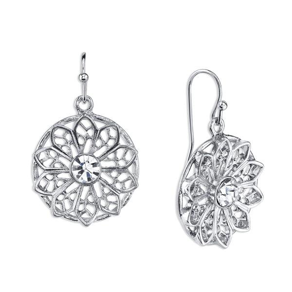 Silver-Tone Crystal Flower Filigree Round Drop Earrings
