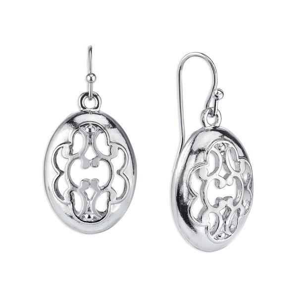 Silver-Tone Filigree Oval Drop Earrings