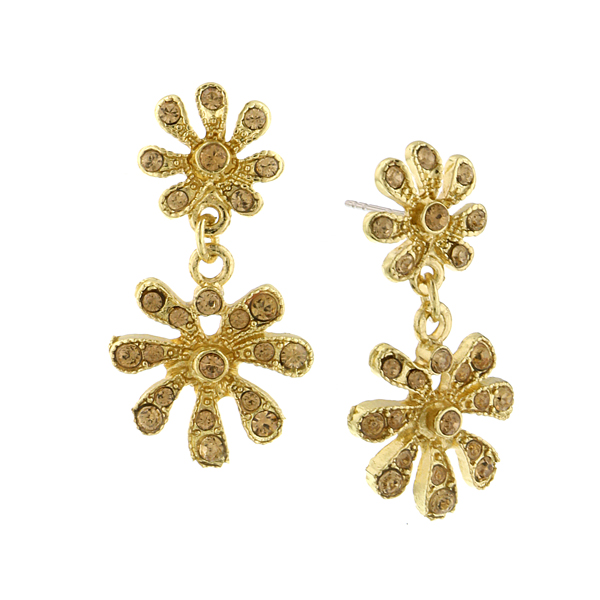 Gold-Tone Light Brown Crystal Flower Drop Earrings