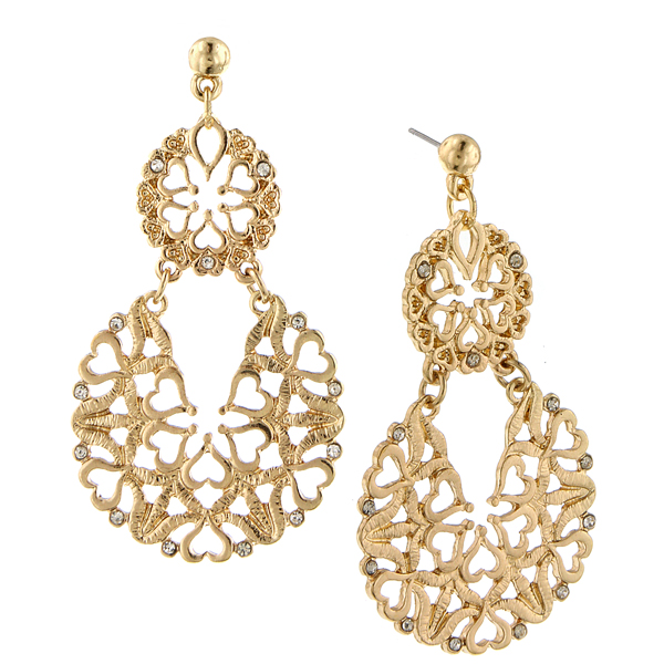 2028 Tailored Gold-Tone Crystal Large Filigree Drop Earrings