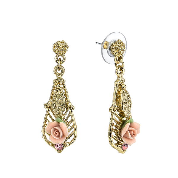 Gold-Tone Pink Porcelain Rose and Pink Crystal Accent Drop Earrings