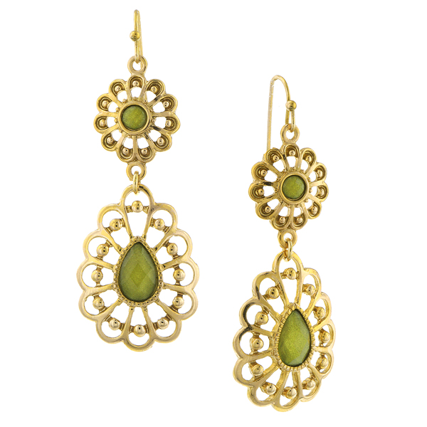 2028 Gold-Tone Filigree Green Drop Earrings