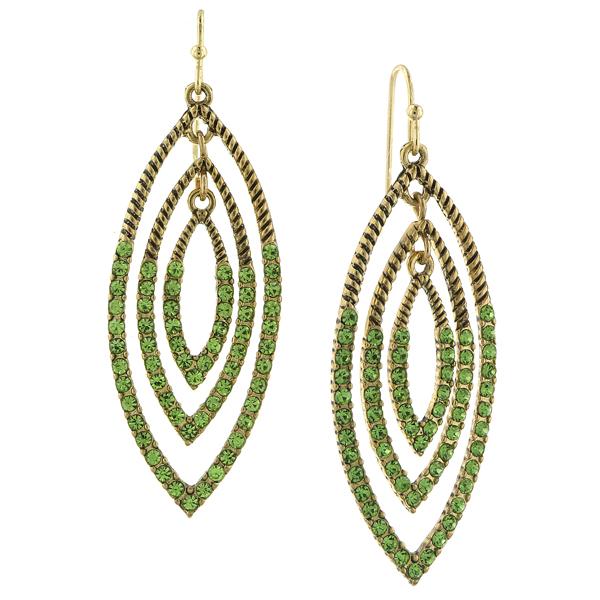 2028 Gold-Tone Green Drop Earrings