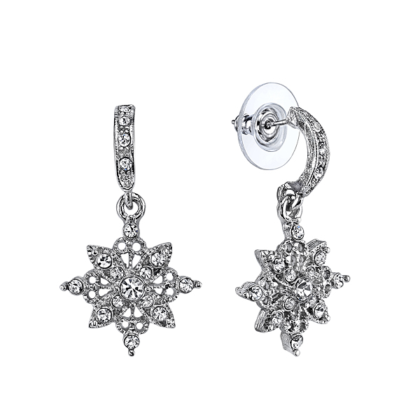 Silver-Tone Crystal Flower Drop Bridal Earrings