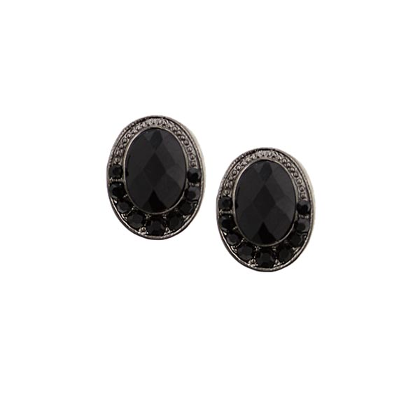 Framed Black Button Earrings