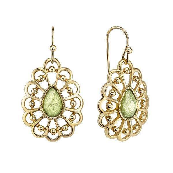 Summer Gold-Tone Light Green Filigree Pear-Shaped Drop Earrings