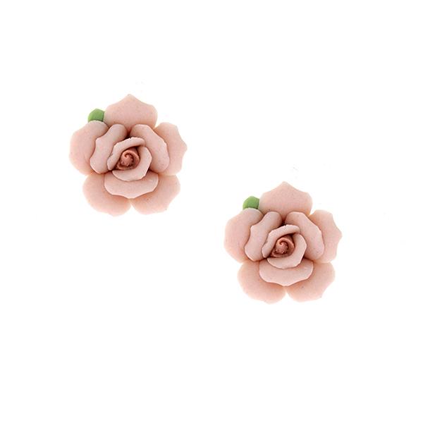 Classic Porcelain Rose Button Earrings