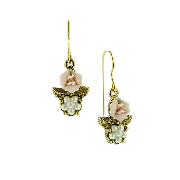Porcelain Rose Pearl Drop Earrings