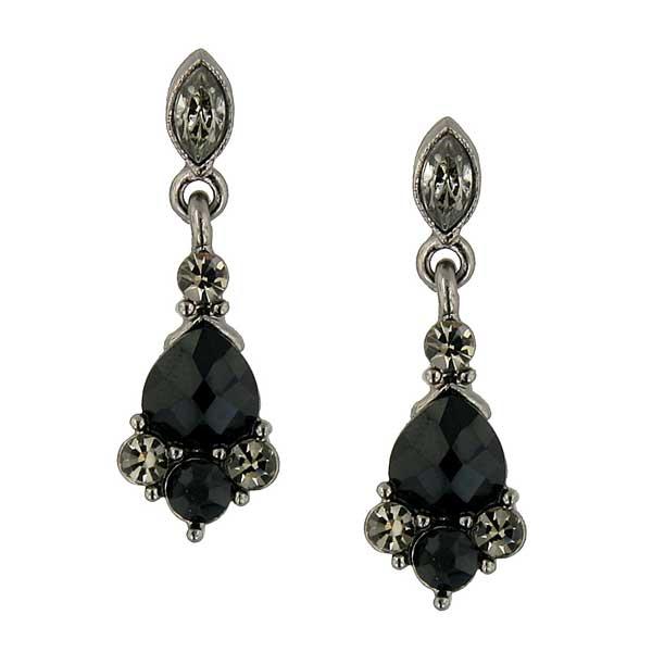 Vintage Black-Diamond Crystal Drop Earrings