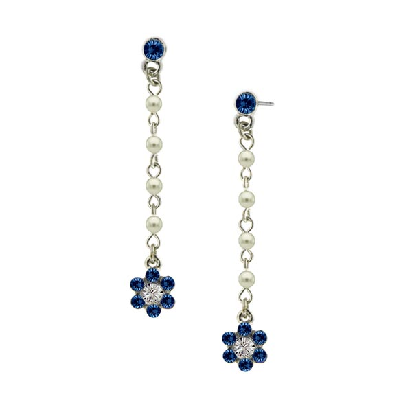 Sapphire Flower Drop Earrings