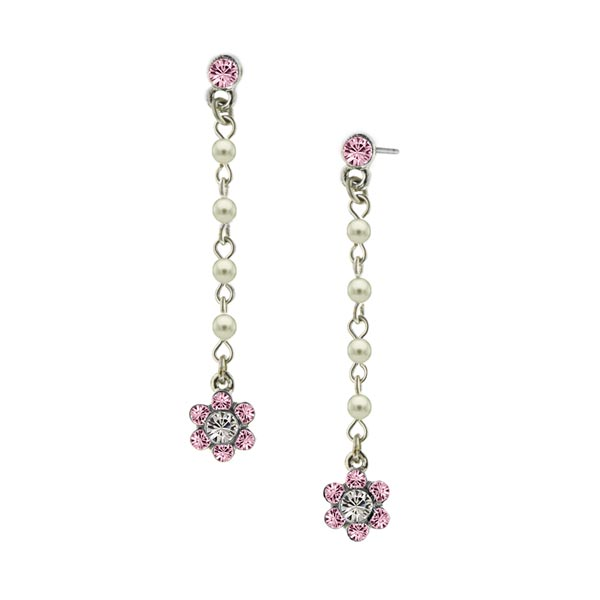 Rose Pink Flower Drop Earrings