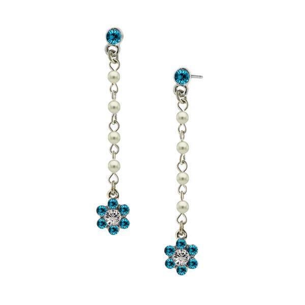 Aqua Flower Drop Earrings