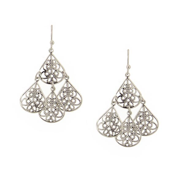 Silver Tone Filigree Teardrop Chandelier Earrings