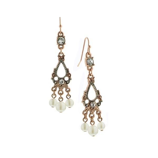 Pink Champagne Teardrop Chandelier Earrings