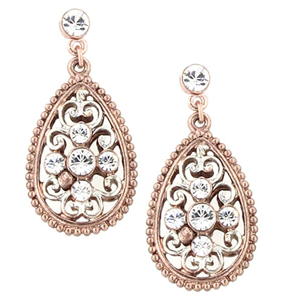 Pink Champagne Elegant Filigree Teardrop Earrings