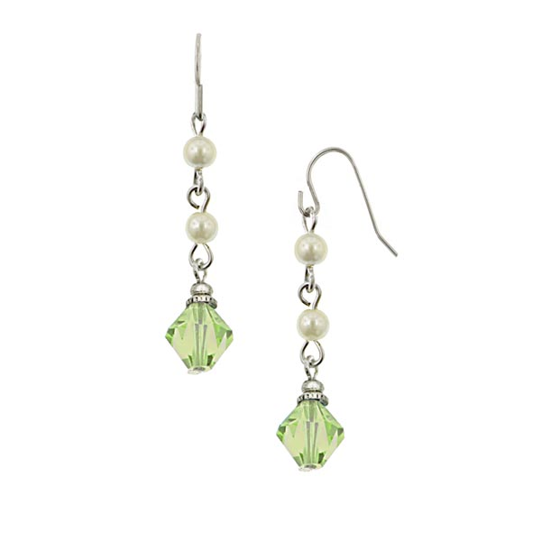 Silver-Tone Faux Pearl and Peridot Green Bead Linear Earrings