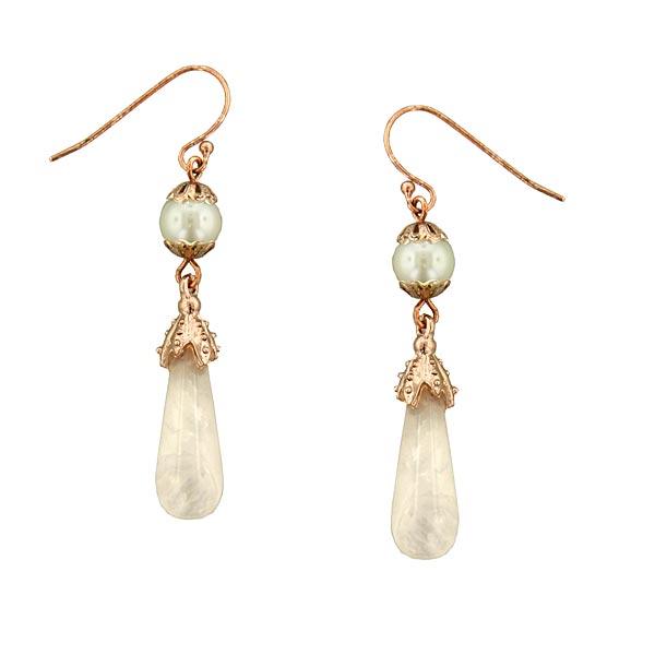 Rose Gold-Tone & Pink Quartz Drop Earrings