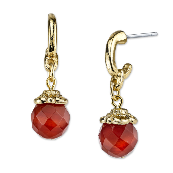 2028 Sorrento Gold-Tone Semi-Precious Carnelian Bead Drop Earrings