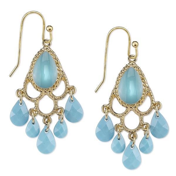 Domenica Gold-Tone Imitation Turquoise Chandelier Earrings