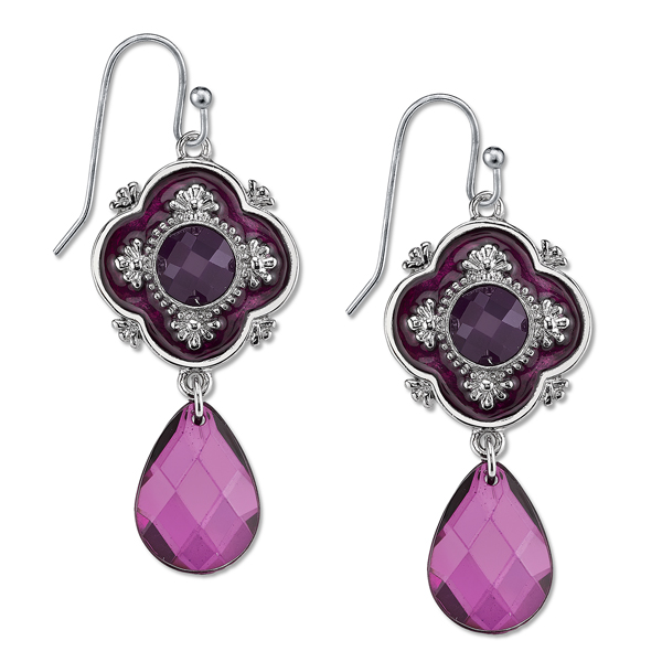 Domenica Silver-Tone Purple Enamel Briolette Drop Earrings