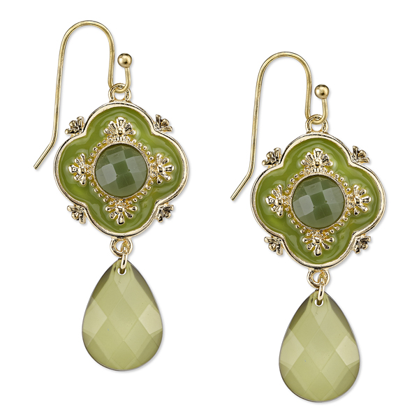 Domenica Gold-Tone Green Enamel Briolette Drop Earrings
