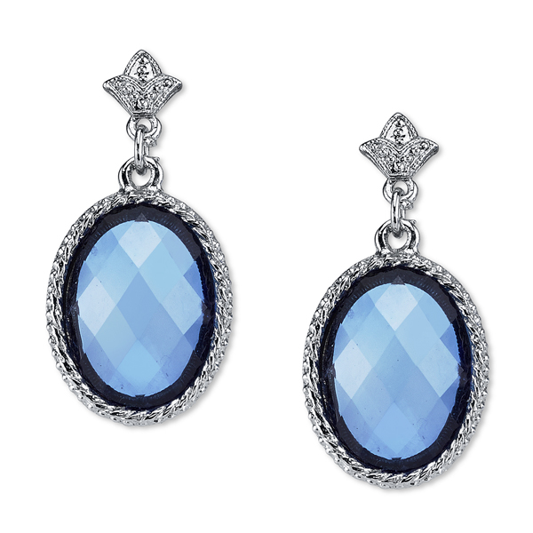 2028 Silver-Tone Blue Oval Faceted Drop Earrings