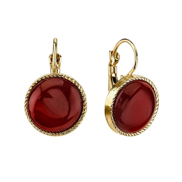 Cyprus Gold-Tone Red Round Drop Earrings