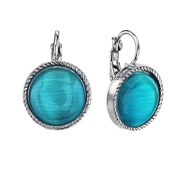 Cyprus Silver-Tone Aqua Blue Round Drop Earrings