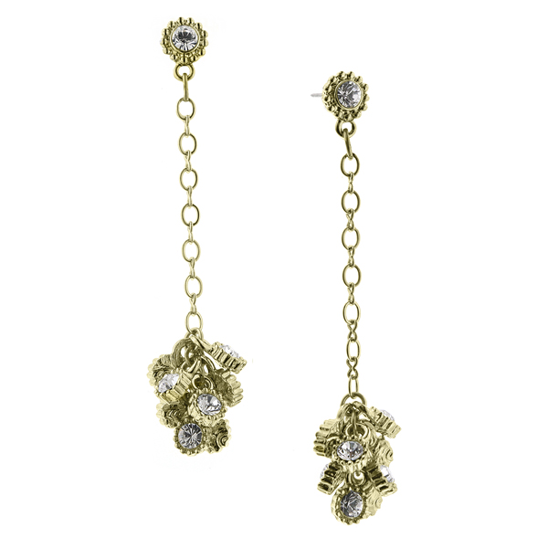 Alex Nicole® De Luca Brass Sparkle Cluster Linear Drop Earrings