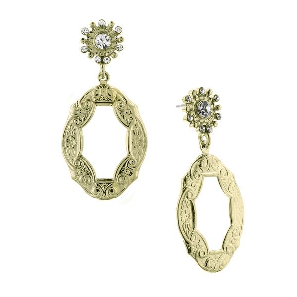 Alex Nicole® De Luca Golden Frame Antique Drop Earrings