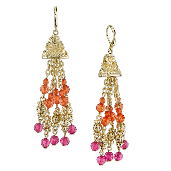 2028 Sunset Gold-Tone Fuchsia and Coral Bead Tassel Earrings
