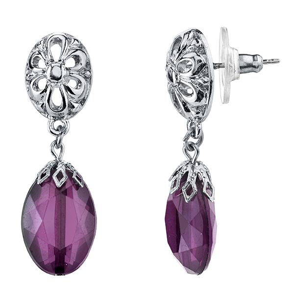 Tuileries Silver-Tone Amethyst Purple Filigree Accent Drop Earrings
