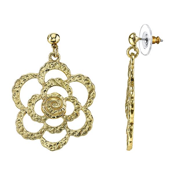 Golden Summer Gold-Tone Hammered Flower Drop Earrings