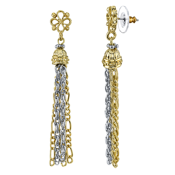 Golden Summer Two-Tone Chain Tassel Drop Earrings