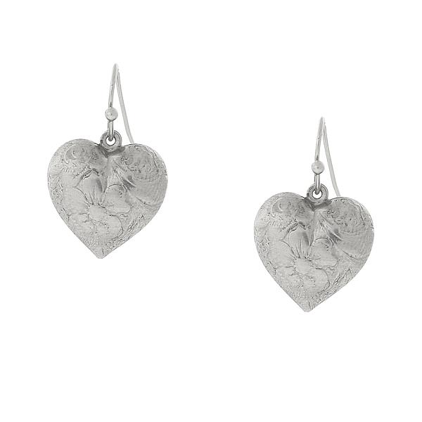 2028 Silver-Tone Puff Heart Drop Earrings