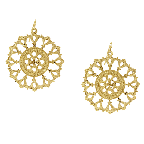 2028 Gold-Tone Round Filigree Drop Earrings