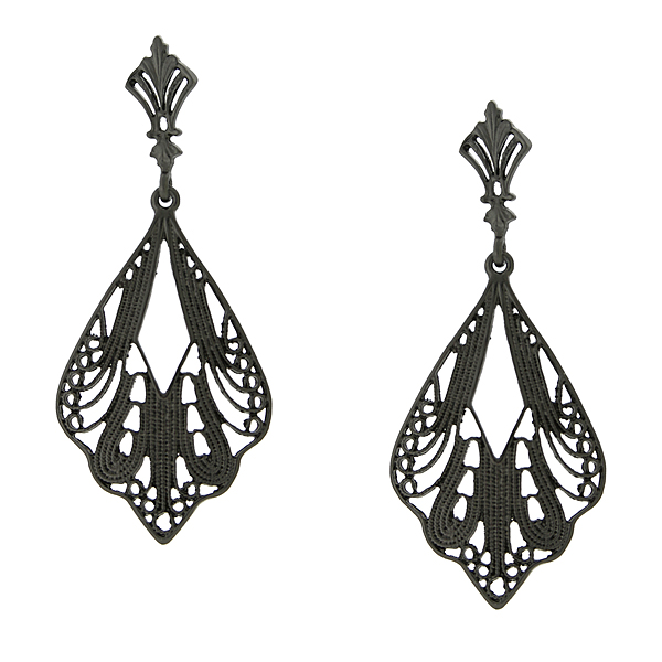 2028 Black-Tone Filigree Drop Earrings