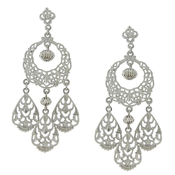 2028 Silver-Tone Filigree Chandelier Earrings