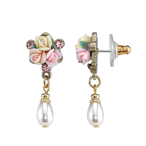 Gold-Tone Pink Crystal and Porcelain Rose Faux Pearl Drop Earrings