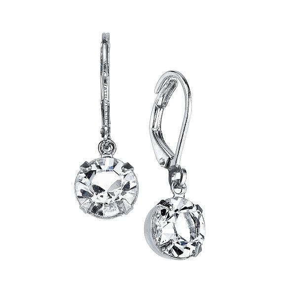 Signature Silver-Tone Genuine Swarovski Crystal Drop Earrings