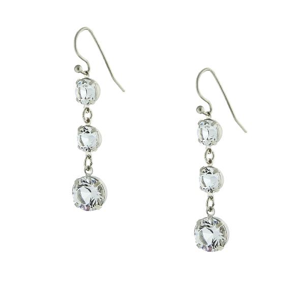 Signature Silver-Tone Genuine Swarovski Crystal Triple Drop Earrings