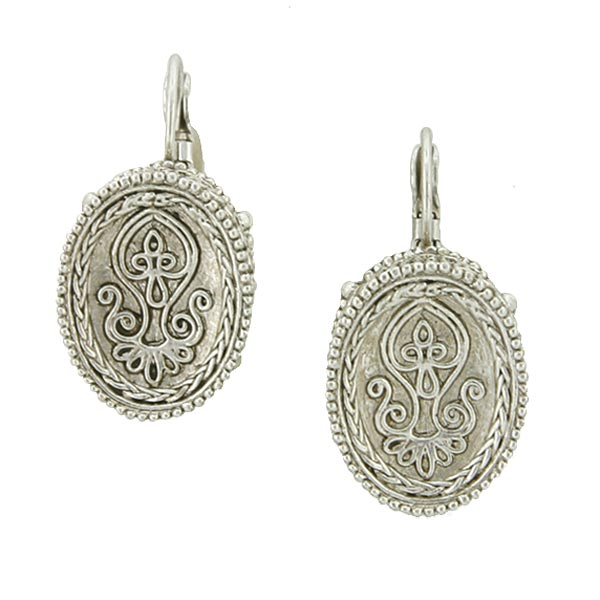 Antiquities Couture Silver-Tone Etched Oval Drop Earrings