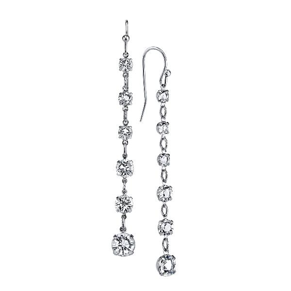 Signature Silver-Tone Genuine Swarovski Crystal Petite Linear Drop Earrings
