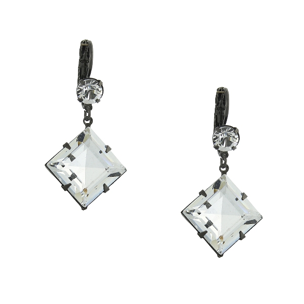 Signature Jet-Tone Genuine Swarovski Crystal Diamond-Shaped Drop Earrings
